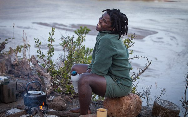 Nunu Jobe, trails ranger and a man who laughs easily – and a lot.