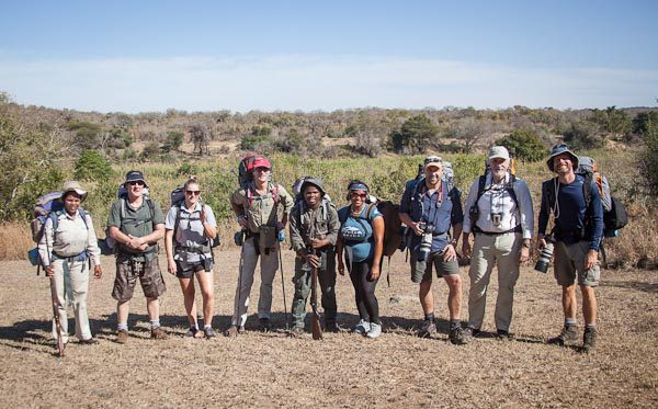 A diverse group of strangers, united by Africa's wilderness and wildlife. From left to right: back-up ranger Nontobeko Ncube, Bruce and Meghan Conlon from Australia, Cape Union Mart's Pierre Pienaar, trails ranger Nunu Jobe, Pinkey Ngewu from De Hoop Nature Reserve, lucky competition winners Brendon Muller and Christo Dippenaar, as well as Year in the Wild's Scott Ramsay.
